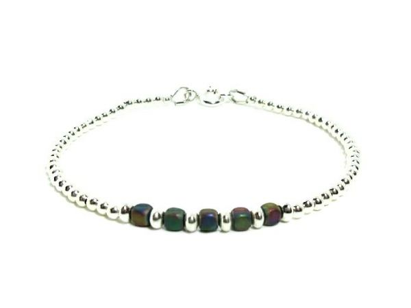 Rainbow Hematite Cube Beads Stacking Bracelet With Sterling Silver | Silver Sensations